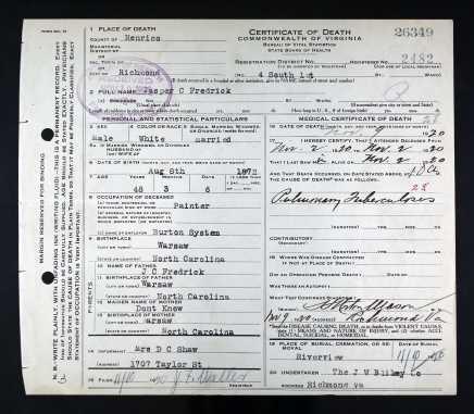 Jasper Frederick Death Certificate