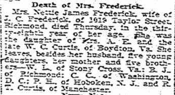 Nettie Frederick Death Notice