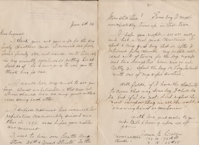 Letter from James Collie to Raymond Sykes