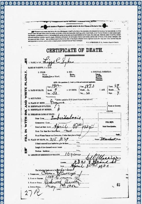 Lizzie C Sykes death certificate