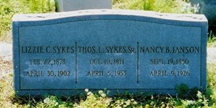 Sykes Ianson Headstone